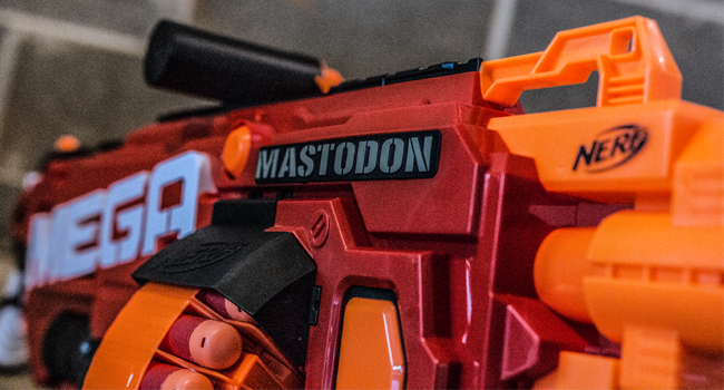 First, the technical details: the Mastodon is a huge gun, and at nearly  three feet long, it might be the largest Nerf blaster by combined weight  and size ...